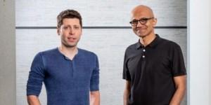 Sam Altman, CEO de OpenAI y Satya Nadella, CEO de Microsoft. Fotografía: SCOTT EKLUND / RED BOX PICTURES